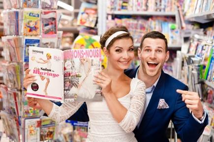 Séance photos de mariage dans un supermarché